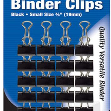 "BAZIC Small 3/4"""" (19mm) Black Binder Clip (20/Pack) Case Pack 24"