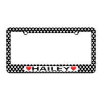 Hailey Love with Hearts - License Plate Tag Frame - Polka Dots Design
