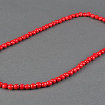 Red wooden bead necklace in Ukrainian style ethnic jewelry handmade gift ideas