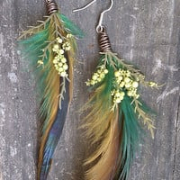 Spring DreamingFeather and Foliage Earrings by MissGabrielleMarie