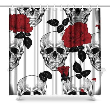 Skull and Red Roses Bathroom Shower Curtain Accessories
