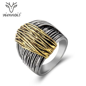 Viennois Gun Color Geometric Finger Rings for Woman Gold Geometric Cocktail Ring Party  Fashion Jewelry