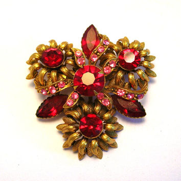 Vintage Red Rhinestone Brooch - Pink and Red Pin - Vintage Jewelry - Costume Jewelry