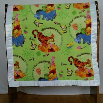 "Fleece Quilt Satin bound Eeyore Winnie The Pooh Bear & Tigger Too blanket Throw 29""X 33"" non pill fleece single layered lightweight in Green"
