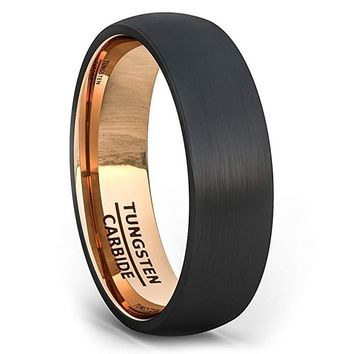 Karissa Black Tungsten Wedding Band Brushed Dome With Rose Gold Comfort Fit - 6mm