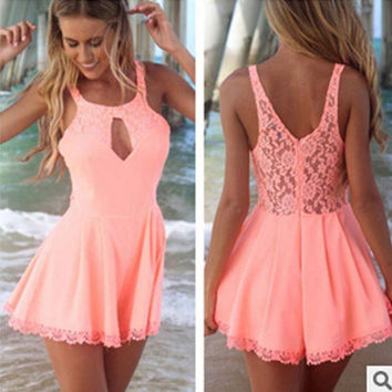 Hot Sale Summer Stylish Hollow Out Lace Dress Slim One Piece Dress [4919720196]