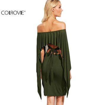 COLROVIE Olive Green Off The Shoulder Cutout Tie Back Cape Dress Sexy Ladies Long Sleeve Knee Length Dress