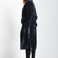 Charcoal Lux Velvet Trench