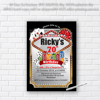 Poker Playing Card Gold birthday invitation, Casino theme gold glitter design invitation for any age 30th 40th 50th 60th 70th 80th card 550