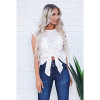 Tessa Embroidered Tie Top (White)