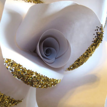 GOLD GLITTERED white rose - wall art paper rose sculpture - Flower Taxidermy No.94
