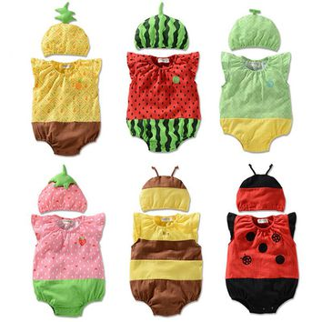 Baby Girls Rompers Cotton Baby Clothes Fruit Infant Jumpsuits+Hat 2pcs Toddler Girls Clothing Set 2017 Newborn Photography Props
