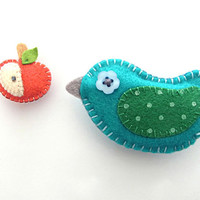 BIrd Magnets - set of bird and apple magnet -  READY TO SHIP