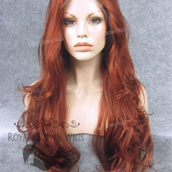 """26"""" Heat Safe Synthetic Lace Front """"Constance"""" with Curly Texture in Royal Red"""