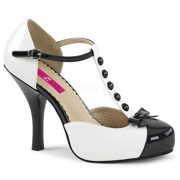 Pleaser Pink Label Black and White T-Strap Pumps