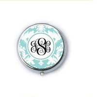 Damask Monogram Personalized Mirror Compact