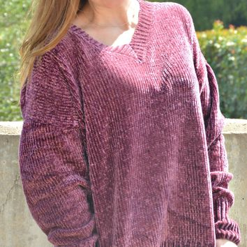 Believe In Beauty Sweater - Plum