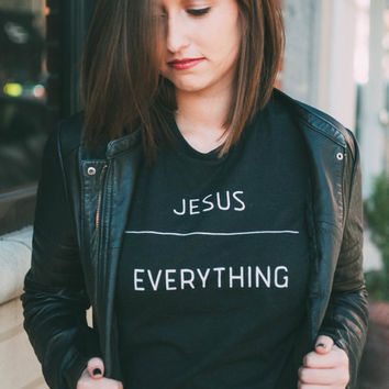 JESUS OVER EVERYTHING Christian Women's Pink Grey White Black Casual T-Shirt