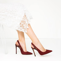 LEATHER SLINGBACK HIGH HEEL SHOES