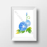 Morning Glory Wall Art, Flower Room Decoration, Watercolor Digital Download Print
