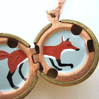 Red Fox Handpainted Locket Antique Brass and by kharaledonne