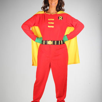 Batman Robin Caped Footed Hooded Adult Pajamas