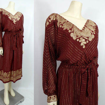 Vintage late 1970s Muney hippie dress Sheer lined rayon burgundy rust Metallic Tie waist Medium Large V neck Hippie Head shop stoner