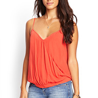 LOVE 21 Draped Woven Surplice Cami Tomato