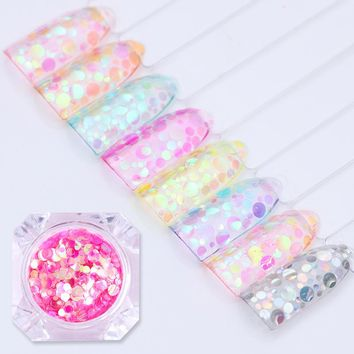 8 Boxes/set BORN PRETTY Nail Sequins Sheets Tip Flakes Chameleon Round Mermaid Glitter Semi-transparent Colorful Paillette