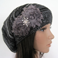 Black and White Knit Slouch Beanie Winter Hat With Grey Chiffon Flowers and a Rhinestone Accent