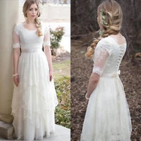 Spring Lace Wedding Dresses Half Sleeves Country Boho Bridal Dresses Gowns