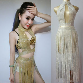 Female Singer Sexy Pole Dance Clothing Outfit  Sparking Paillette Tassel Set