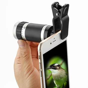 Universal Clip 8-18x Zoom Optical monocular Mini Mobile Phone Telescope Camera Len+Clip For outdoor activities