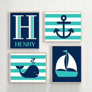 Hamptons WHALE Nursery Wall Art, Canvas or Print Sailboat Anchor Baby Boy Decor, Nautical Nautical Boys Bedroom, Set of 4, Above Crib