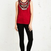 April, May Marias Beaded Tank in Red - Urban Outfitters