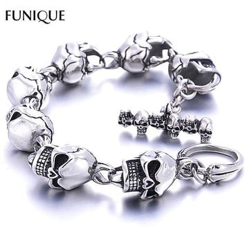 Funique Men Bracelet New 316l Stainless Steel 7 Skulls Gothic Punk Men Bracelet For Boyfriend & Girlfriend Jewelry Gift 22cm