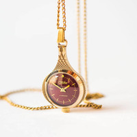 Gold plated women's necklace watch drop Glory, watch necklace texture drop, dark burgundy women watch pendant, 80s watch necklace gift her