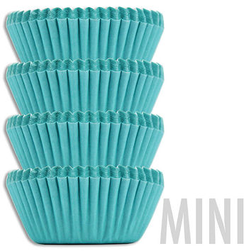 Mini Solid Turquoise Baking Cups