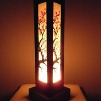 Thai Wood Lamp Handmade Oriental Japanese Red Sakura Cherry Blossom Tree Branch Bedside Table Lights or Floor Home Decor Bedroom Decoration Modern Design