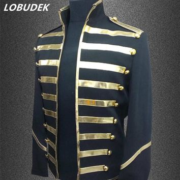 male costumes jacket blazer coat fashion slim outerwear show singer stage dancer nightclub dj stage performance wear silver gold
