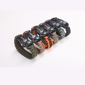 Mix Colors 6pcs a lot Parachute Cord Emergency Paracord Camping Safety Survival Bracelet With Whistle Buckle 7 strands paracord