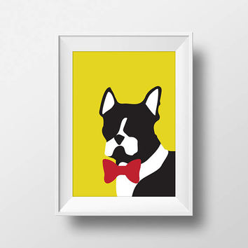 Boston Terrier, Modern, Stylish, Bow Tie, Printable, Instant Download, Dog, Black and White, Kid, Nursery, Home Decor, Pop, Blue, Pink, Art