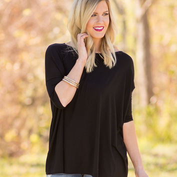 PIKO 3/4 Sleeve Top - Black