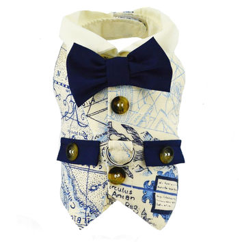 Antique Map Dog Vest Harness