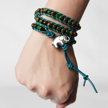 Bada Bracelet Teal and Brown