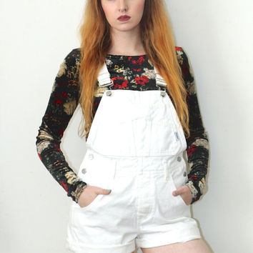 Vintage 90s Hipster // Guess White Denim Dungarees // Short Overalls // Size Small / Medium