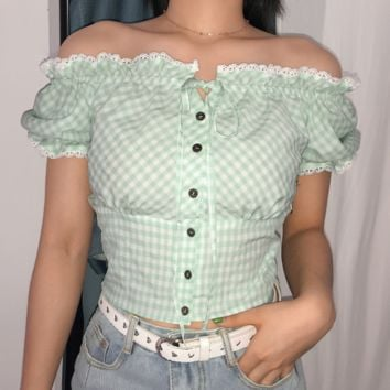 Explosive models, fashionable women's clothing, small fresh green plaid, shoulder, shoulder, waist, T-shirt, female