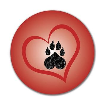 CREYCY8 Valentines Day Paw Print Heart Cat 4x4in. Round Decal Sticker