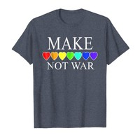 MAKE LOVE NOT WAR T-shirt Rainbow Hearts