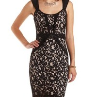 Sleeveless Lace Midi Dress by Charlotte Russe - Black Combo